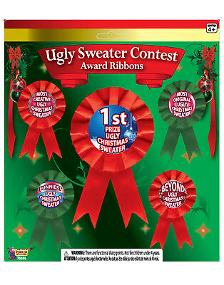 Ugly Christmas Sweater Contest Funniest Original Beyond Ugly Award Ribbons