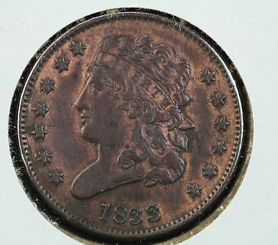 1833 Capped Bust Liberty Half Cent AU Brown