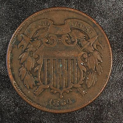 1864 Two Cent Piece - Obverse Rim CUD - High Quality Scans #D526