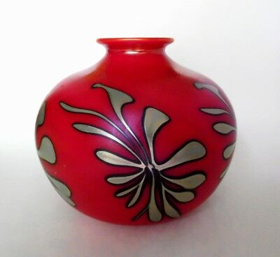 Gorgeous Vtg Signed 1990 Charles Lotton Red and Silver Iridescent Art Glass Vase