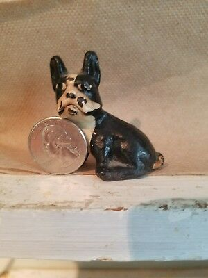 Vintage Cast Iron  Paperweight  Bulldog Black & White Puppy. Hubley???