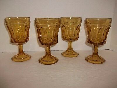 4 Vintage Retro Amber Glass Water Glasses Wine Goblets Parfait Dish Arch Diamond
