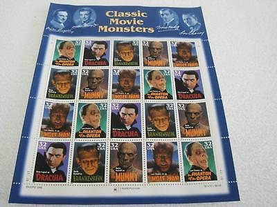 US Postal Service 32 cents Classic Movie Monsters Stamps 1996 Full Sheet of 20