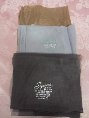 Vintage 3 Pairs Nylons Seymour Charcoal/Kitty Crest Light Gray/Ummarked Dark Tan