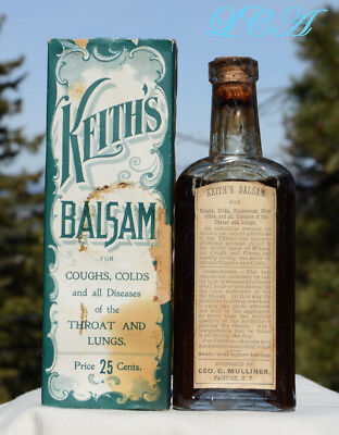 UNLISTED antique KEITH'S BALSAM bottle THROAT & LUNGS embossed LABELED in BOX