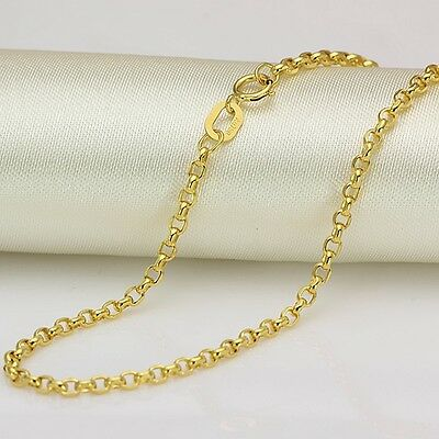 Authentic 18K Yellow Gold 2mm Rolo Link Chain Necklace 60cm Length