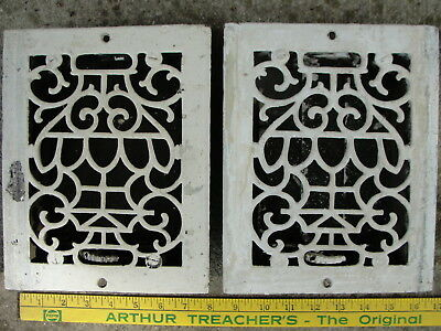2 Victorian Heat Register Grates with  Scroll Pattern,