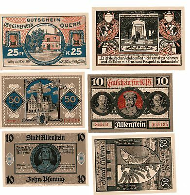 Germany 6 Different AU/UNC 1921 Notgeld Notes - Free U.S. Shipping