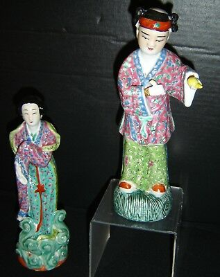 Antique Chinese Famille Rose Pair of Court Attendants Porcelain Figures Signed.