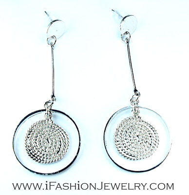 Silver Round Circle Hollow Filigree Spiral Wired Line Geometric Dangle Earrings