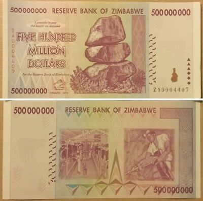Zimbabwe 500 Million Dollars Banknote UNC ZA Replacement (Zm500M-ZA)