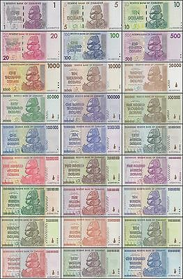 Zimbabwe Full Set of 27 Banknotes Uncirculated 2007-2008 100 Trillion(ZmF27)