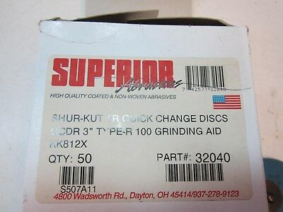 "Box of 50 SUPERIOR 100 Grit 3"" Type-R Quick Change Grinding Discs New USA Made"