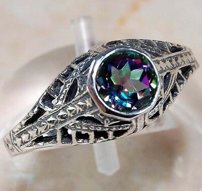 2CT Color Changing Rainbow Topaz 925 Sterling Silver Filigree Ring jewelry Sz 8