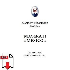 1966 Maserati Mexico AM 112 driving and service manual PDF download