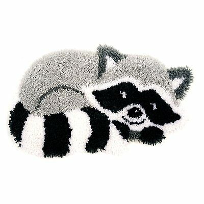 Raccoon Latch Hook Kit Rug Making Kit 55x32cm Vervaco. Printed Canvas