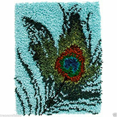 Peacock Feather Latch Hook Kit 38x51cm Caron Wonderart