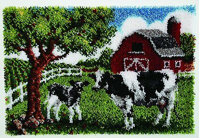 Contented Cows Latch hook Kit Rug Making kit 27x40 inches by Caron
