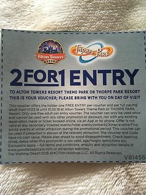 Alton Towers/ Thorpe Park 2for1 Entry Voucher