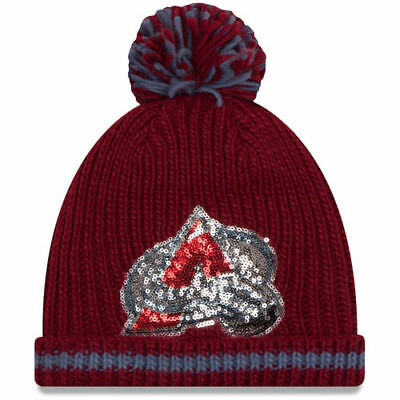 d48404dce1b Colorado Avalanche New Era Women s Sequin Frost Cuffed Knit Hat with Pom -