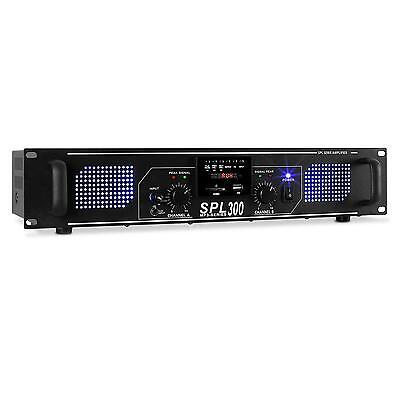 AMPLI DE SONO DJ PA 2 VOIES EQ USB SD MP3 RACK 48CM LED BLEU 300W @ 4 OHM 3x RCA