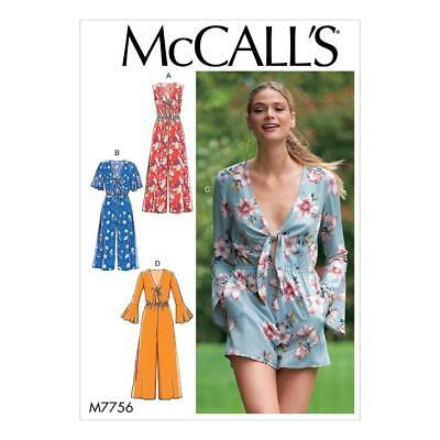 McCALL'S SEWING PATTERN MISSES' JUMPSUIT & ROMPER SIZES 6-22 M7756