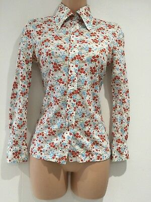 Vintage 1970's Retro White Blue & Red Floral Print Long Sleeve Shirt Size 6-8