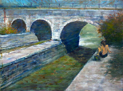 Erie Canal Central New York State 18x24 in. Oil on canvas Hall Groat Sr.