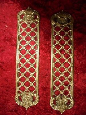 A Pair Beautiful Ornate Brass Finger Plate/ Push Door Handle Plates, Vgc.