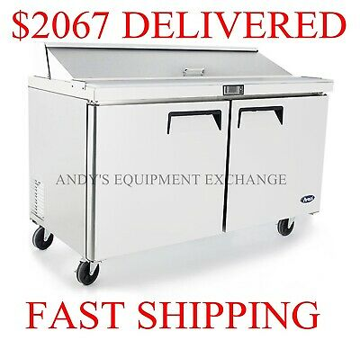 "2-Door Commercial Restaurant Sandwich Salad Prep table 60"" 5 foot wide with pans"