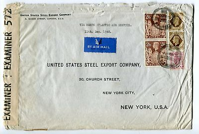 London 1940 Cancel on 2s6p KGVI Chestnut Brown Pair on Censor Cover to USA