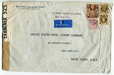 London 1940 Cancel on 2s6p KGVI Chestnut Brown on Censor Cover to USA