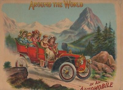1907 Around The World In An Automobile color illustrations