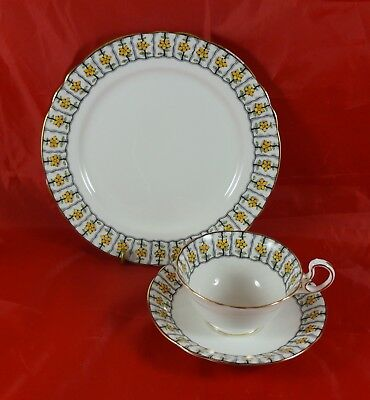 Aynsley  Fine Bone China Trio Cup Saucer & Plate Yellow Flowers