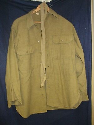 Wwii Us Army Shirt & Tie Od Flannel Size 15/33 Good Condition Adopted 1934