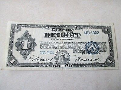 1933 City of Detroit One Dollar note, RARE NOTE, low starting price!