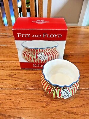 Hand Painted Fitz & Floyd Classics KRINGLE Christmas REINDEER TREATS Candy Bowl