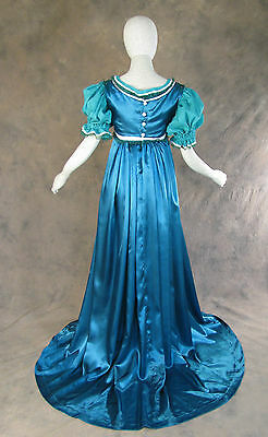 Blue Green Regency Jane Austen Style 2 Pce Teal Ball Gown Costume Small Cosplay