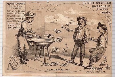Vintage Victorian Trade Card. Allan's Fly Brick, It Lays 'em All Out.