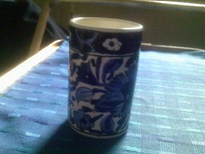 Continental Greek Blue And White Patterned Column Pot