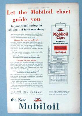 8X12 Original 1929 Mobil  Ad LET THE MOBILOIL CHART GUIDE YOUR TO SAVINGS