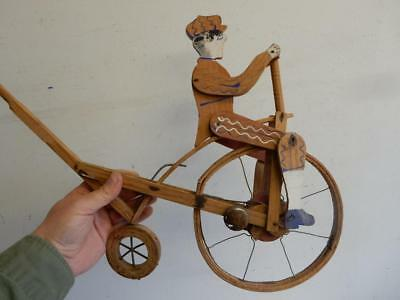 really old WOODEN TOY childs push along penny farthing