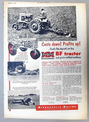 10x14 Orig 1953 Minneapolis-Moline BF Ad LONG LOST POWER STARTS HERE