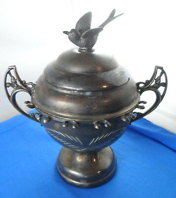 Antique Silverplate Spooner Bowl Covered Dish With Spoon Rack Around It Keystone