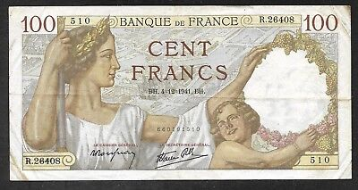 France - Old 100 Francs Note - 1941 - P94 - VF