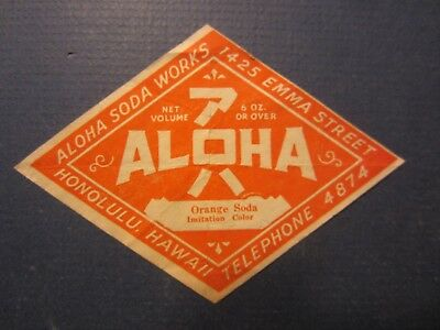 Old Vintage 1930's - ALOHA SODA WORKS - Orange Soda Bottle LABEL Honolulu HAWAII