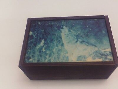 "Made in the USA!  TAROT CARD ""WOLF"" STORAGE WOOD BOX-NEW"