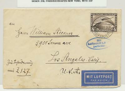 GERMANY -NEW YORK 1928 ZEPPELIN  LZ127 COVER, 4m RATE Si#21B WITH Sc#37