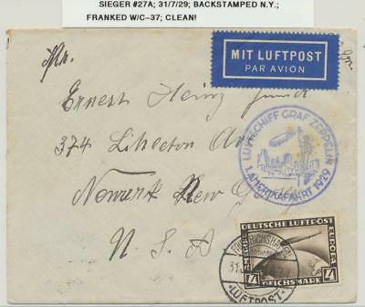 GERMANY -USA, 1929 GRAF ZEPPELIN COVER, 4M (Sc#C37) RATES Si#27A