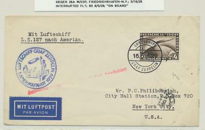 "GERMANY -USA, 1929 LZ127 ZEPPELIN COVER, INTERRUPTED FLT, ""ON BOARD"" Si#26A"